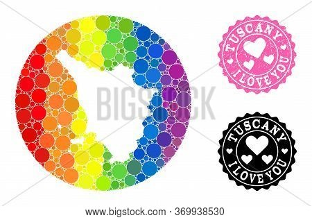 Vector Mosaic Lgbt Map Of Tuscany Region Of Round Elements, And Love Scratched Seal Stamp. Subtracti