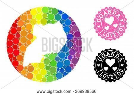 Vector Mosaic Lgbt Map Of Uganda With Spheric Blots, And Love Grunge Seal Stamp. Subtraction Round M