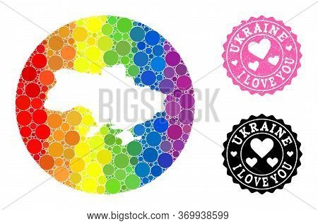 Vector Mosaic Lgbt Map Of Ukraine Of Round Blots, And Love Scratched Stamp. Stencil Round Map Of Ukr