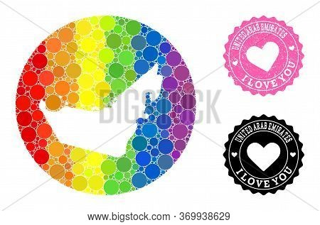 Vector Mosaic Lgbt Map Of United Arab Emirates With Round Items, And Love Rubber Seal Stamp. Hole Ci