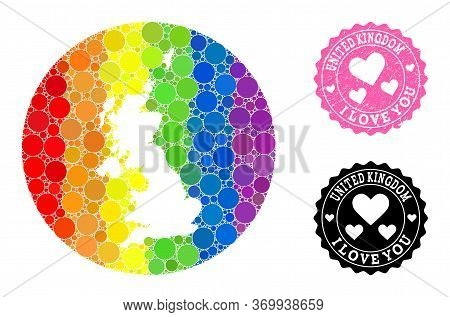 Vector Mosaic Lgbt Map Of United Kingdom With Round Elements, And Love Watermark Stamp. Hole Round M
