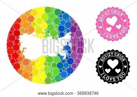 Vector Mosaic Lgbt Map Of Ussr Of Round Spots, And Love Rubber Seal. Stencil Round Map Of Ussr Colla