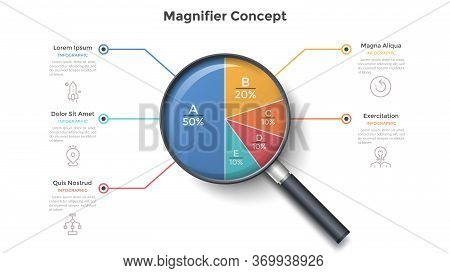 Magnifying Glass With Round Pie Chart Divided Into 5 Colorful Sectors. Concept Of Five Parts Of Busi