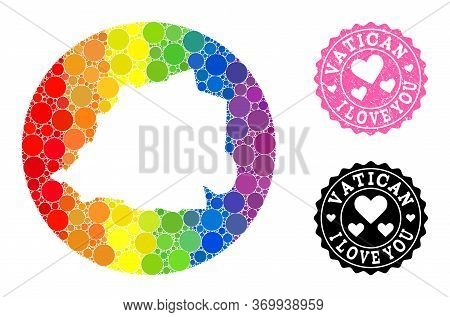 Vector Mosaic Lgbt Map Of Vatican From Circle Elements, And Love Rubber Seal. Stencil Round Map Of V