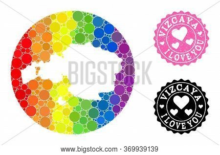 Vector Mosaic Lgbt Map Of Vizcaya Province With Round Blots, And Love Watermark Seal Stamp. Stencil