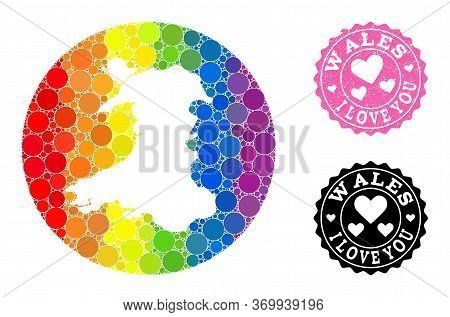 Vector Mosaic Lgbt Map Of Wales With Round Elements, And Love Rubber Seal Stamp. Stencil Circle Map