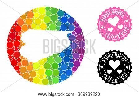 Vector Mosaic Lgbt Map Of Warmia-masuria Province From Round Dots, And Love Watermark Stamp. Hole Ro