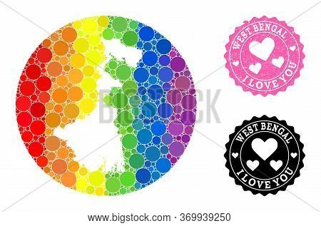 Vector Mosaic Lgbt Map Of West Bengal State With Circle Items, And Love Watermark Seal Stamp. Stenci