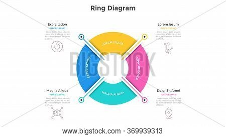 Ring-like Pie Chart Divided Into 4 Colorful Sectors. Concept Of Four Options Of Company Management.