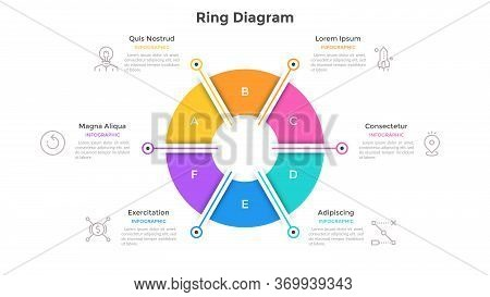 Ring-like Pie Chart Divided Into 6 Colorful Sectors. Concept Of Six Options Of Company Management. S