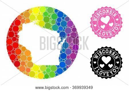 Vector Mosaic Lgbt Map Of Wisconsin State With Round Dots, And Love Watermark Seal. Stencil Round Ma