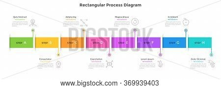 Horizontal Timeline With 8 Colorful Rectangular Elements. Concept Of Eight Milestones Of Company Dev