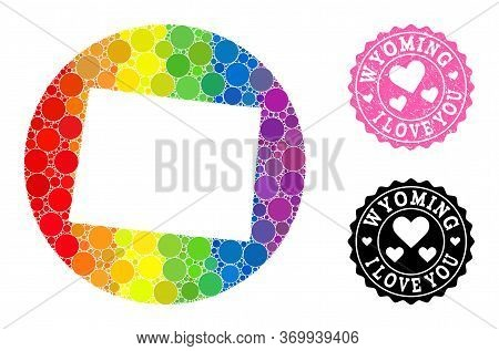 Vector Mosaic Lgbt Map Of Wyoming State Of Spheric Blots, And Love Watermark Seal Stamp. Hole Round