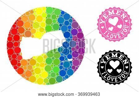 Vector Mosaic Lgbt Map Of Yemen With Round Dots, And Love Scratched Stamp. Stencil Round Map Of Yeme