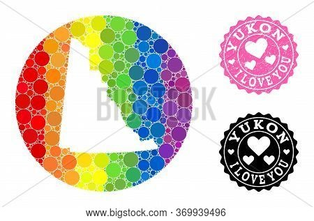 Vector Mosaic Lgbt Map Of Yukon Province With Round Elements, And Love Rubber Stamp. Stencil Circle
