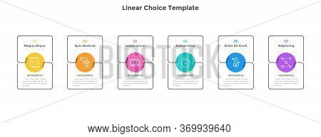 Six Separate Rectangular Elements Or Cards Placed In Horizontal Row. Concept Of 6 Business Options T