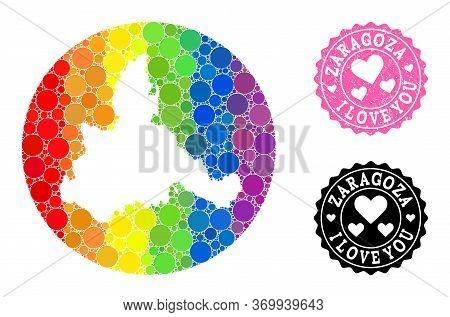 Vector Mosaic Lgbt Map Of Zaragoza Province With Circle Blots, And Love Watermark Stamp. Hole Circle