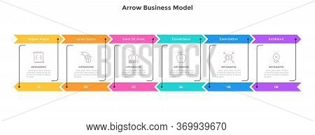 Horizontal Diagram With 6 Arrows. Concept Of Six Successive Steps Of Closed Production Cycle. Flat I