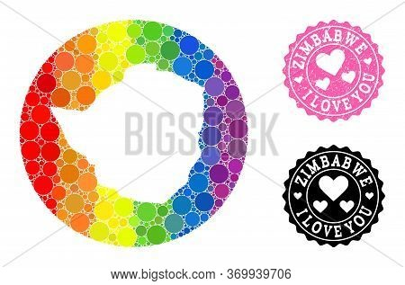 Vector Mosaic Lgbt Map Of Zimbabwe With Circle Dots, And Love Rubber Seal Stamp. Subtraction Round M