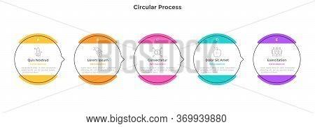 Process Chart With 5 Circular Elements. Concept Of Five Strategic Steps Of Progressive Development.