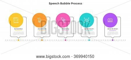 Process Chart With 5 Speech Bubble Elements Placed In Horizontal Row. Concept Of Five Successive Ste