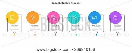 Process Chart With 6 Speech Bubble Elements Placed In Horizontal Row. Concept Of Six Successive Step