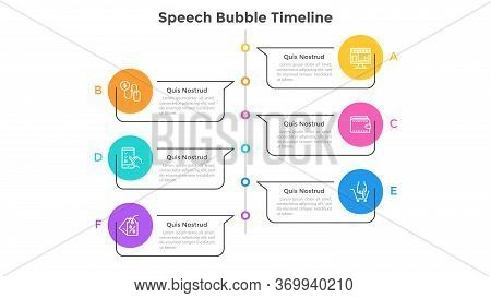 Vertical Timeline With 6 Speech Bubbles. Concept Of Six Milestones On Company Development And Growth