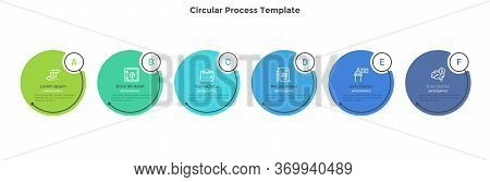 Horizontal Process Diagram With 6 Round Elements. Concept Of Six Successive Steps Of Business Strate