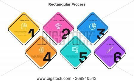 Process Graph With 6 Square Elements With Figures. Concept Of Six Successive Steps Of Startup Develo