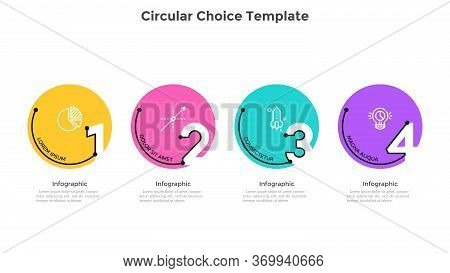 Process Chart With 4 Colorful Circular Elements With Figures. Concept Of Four Successive Stages Of B