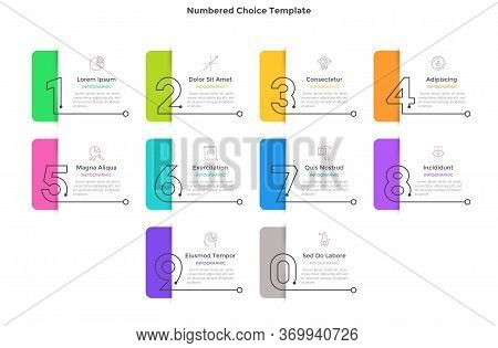 Process Diagram With 10 Rectangular Elements With Figures And Colorful Paper Tags Or Bookmarks. Conc