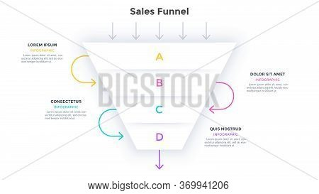Sales Funnel With 4 Levels. Marketing Model With Four Successive Stages. Minimal Infographic Design