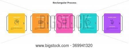 Horizontal Flowchart With 5 Rectangular Elements. Concept Of Five Steps Of Project Progressive Devel