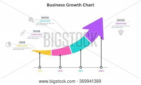 Ascending Arrow Chart Divided Into 4 Parts. Concept Of Annual Growth Of Companys Financial Profit. S