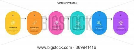 Process Chart With 6 Connected Colorful Rounded Elements. Concept Of Six Stages Of Project Developme