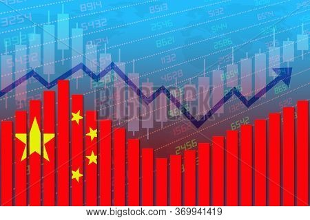 3d Rendering Of China Flag On Bar Chart Concept Of Economic Recovery And Business Improving After Cr