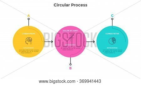 Flow Chart With 3 Colorful Circular Elements Connected By Arrows. Concept Of Three Successive Stages