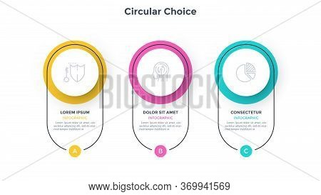 Diagram With 3 Colorful Circular Elements. Concept Of Three Successive Stages Of Business Plan. Simp