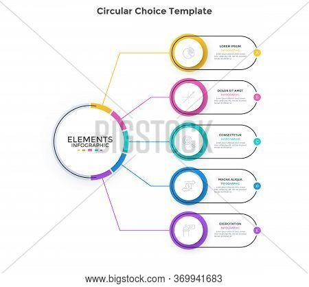 Scheme With 5 Colorful Round Elements Connected To Main Circle. Concept Of Five Business Options To