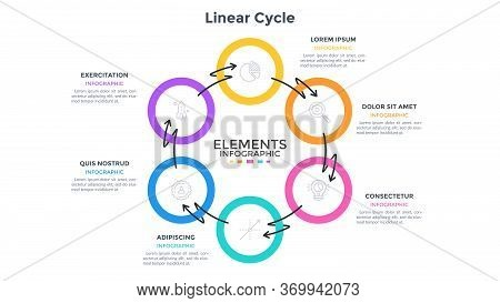 Ring-like Diagram With 6 Round Elements Connected By Arrows Twined Around. Concept Of Six Stages Of