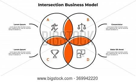 Venn Diagram With 4 Intersected Circular Elements. Concept Of Intersection Business Model With Four
