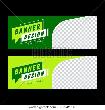 Green Banner Template. Colorful Social Media Post, Facebook Banner. Sale Promotion, Web Banner, Vouc