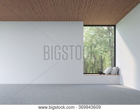 Mininal Contemporary Style Empty Room 3d Render,there Are White Wall,concrete Tile Floor And Wooden