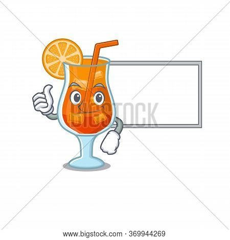 Mai Tai Cocktail Cartoon Design With Thumbs Up Finger Bring A White Board