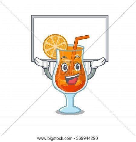 Caricature Character Of Mai Tai Cocktail Succeed Lift Up A Board