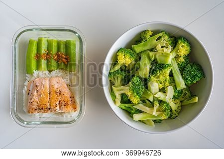 Diet Meal With Fresh Steamed Broccoli, Okra And Salmon