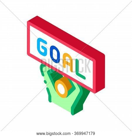 Man With Sign Goal Icon Vector. Isometric Man With Sign Goal Sign. Color Isolated Symbol Illustratio