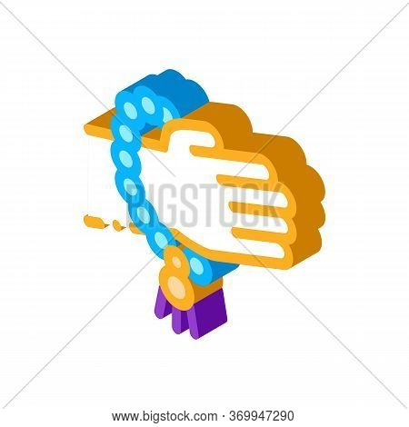 Yoga Meditation Bracelet Icon Vector. Isometric Yoga Meditation Bracelet Sign. Color Isolated Symbol