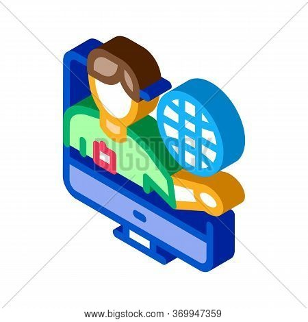 Online Computer Guide Icon Vector. Isometric Online Computer Guide Sign. Color Isolated Symbol Illus