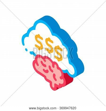Thoughts On Making Money Icon Vector. Isometric Thoughts On Making Money Sign. Color Isolated Symbol